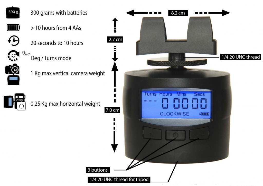 Turns Pro time lapse camera mount dimensions